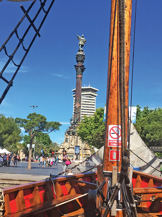 The Christopher Columbus statue sits on the harbor at the foot of Las Ramblas, marking the spot where the explorer landed in 1493 on his return from the new world. Photo Credit: William Nash
