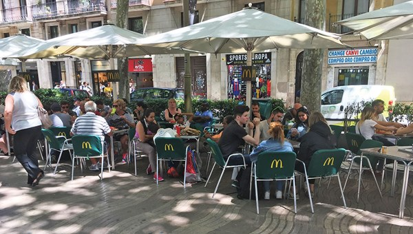 A McDonald's restaurant on Las Ramblas, the tree-lined pedestrian mall where many cruisers and beachgoers enter the city.