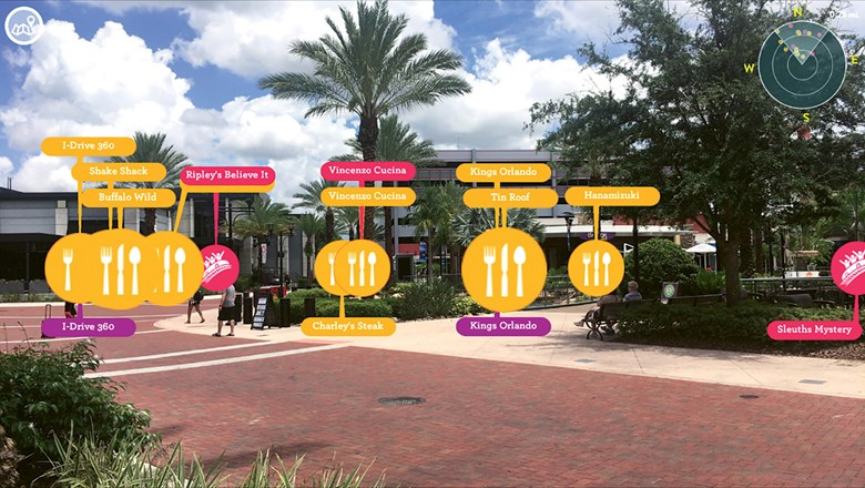 Visit Orlando's app includes AR functionality that superimposes nearby points of interest, like dining and attractions, over a user's camera view on a smartphone.