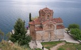 The Church of St. John at Kaneo in Macedonia sits atop a cliff overlooking Lake Ohrid.