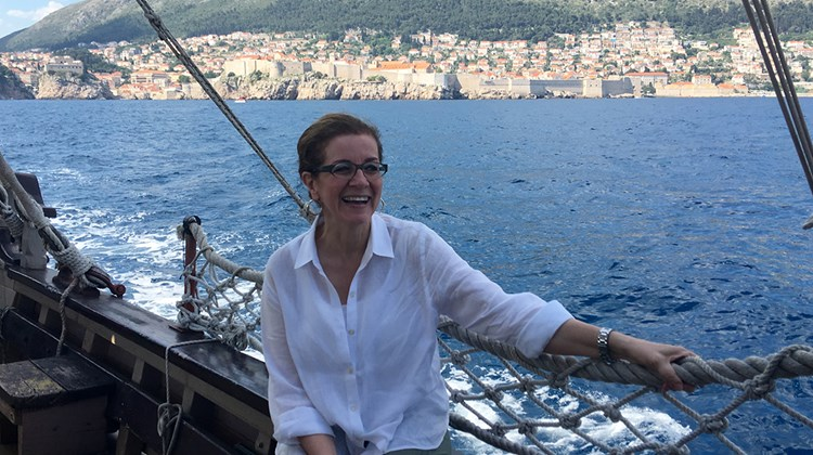 Author Patricia Schultz sailing past the walls of Dubrovnik.