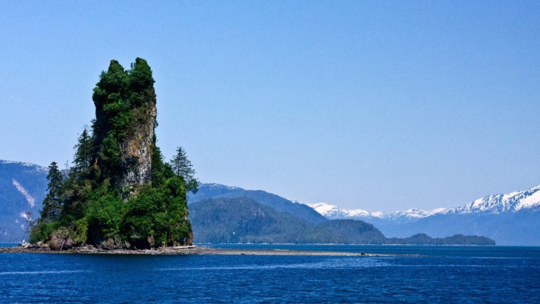Eddystone Rock near Ketchikan, Alaska.