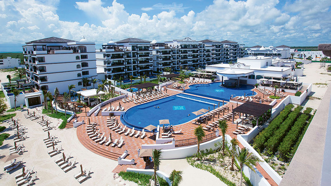 An aerial view of the 103-suite Puerto Morelos property, a member of Leading Hotels of the World.