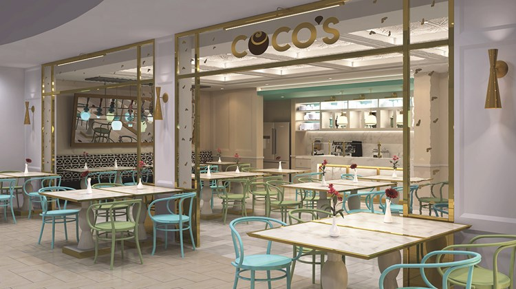 Guests will discover a chocolate fountain at the Coco's dessert shop.