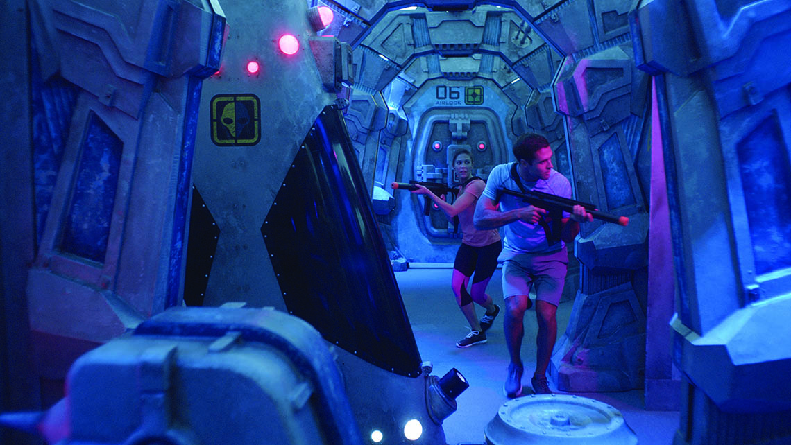 An outdoor laser tag course will be themed as an abandoned space station.