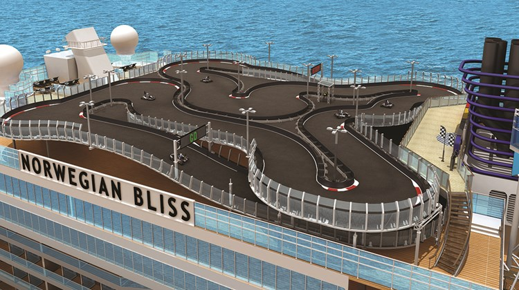 The thrill of electric go-cart racing at sea is coming to the Norwegian Bliss.