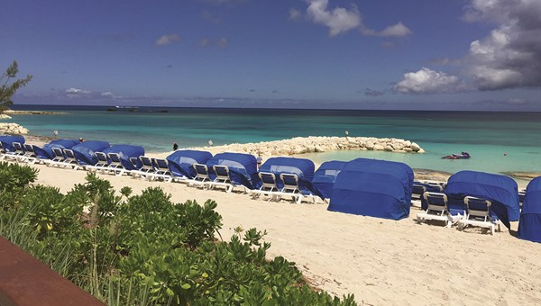 Norwegian Cruise Line has built jetties to help reduce beach erosion at Great Stirrup Cay in the Bahamas.