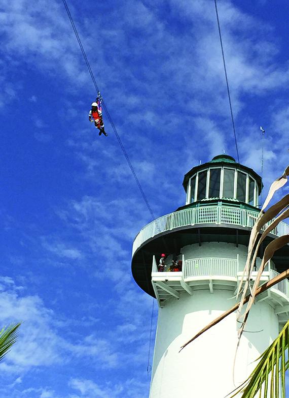 Ziplining at Norwegian Cruise Line's Harvest Cay in Belize.