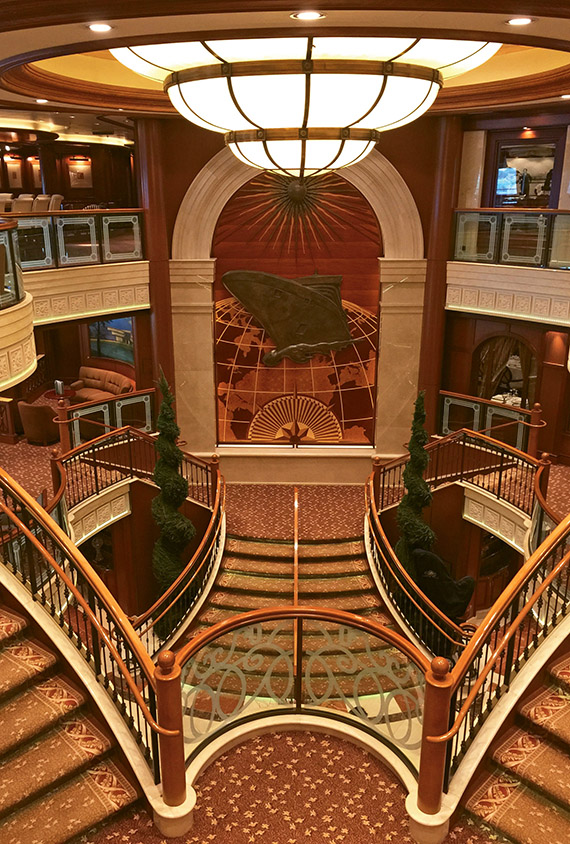 The atrium of Cunard Line's Queen Victoria, which underwent a $42 million revamp this spring.