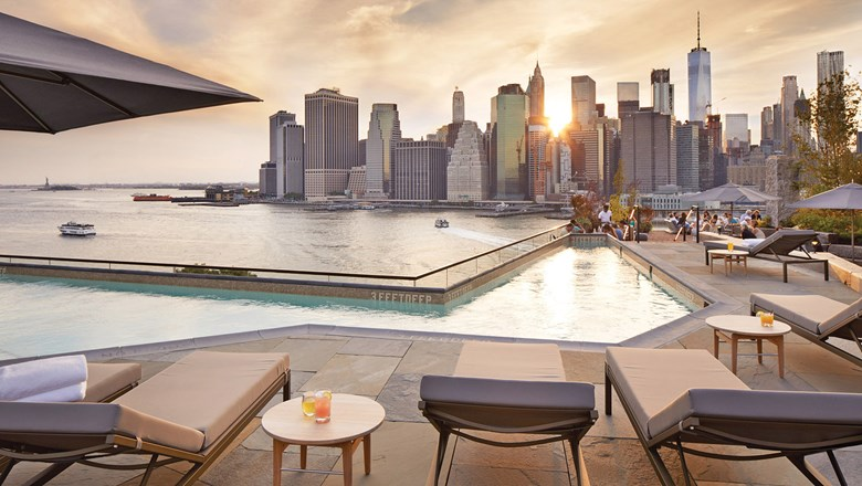 New York's 1 Hotel Brooklyn Bridge opened in February and features a rooftop pool and deck with views of Lower Manhattan.