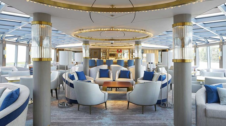 The Palm Court onboard the Crystal Bach has a glass roof and a dance floor.