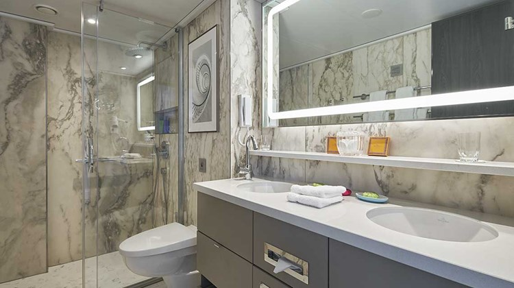 Most bathrooms feature double vanities on the Crystal Bach.