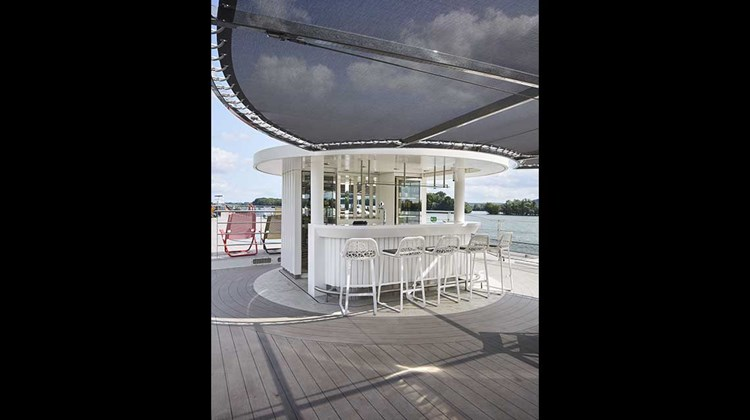 A pop-up bar on the ship's top deck.