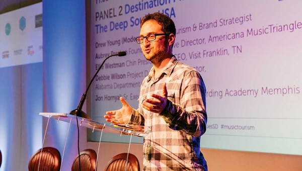 Shain Shapiro, CEO of Sound Diplomacy, speaks at the Music Tourism Convention in Liverpool, England.