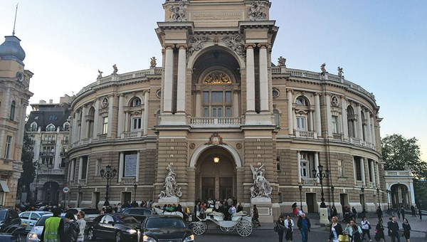 The Opera and Ballet Theater in Odessa, a soaring 19th century masterpiece of Italian baroque architecture.