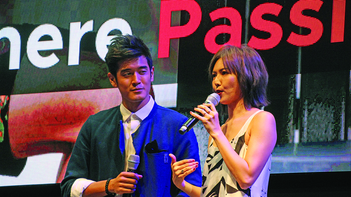 "Singaporean pop singers Nathan Hartono and Stefanie Sun discuss their appearance in ads under Singapore's new ""Passion Made Possible"" effort. Photo Credit: TW photo by Eric Moya"
