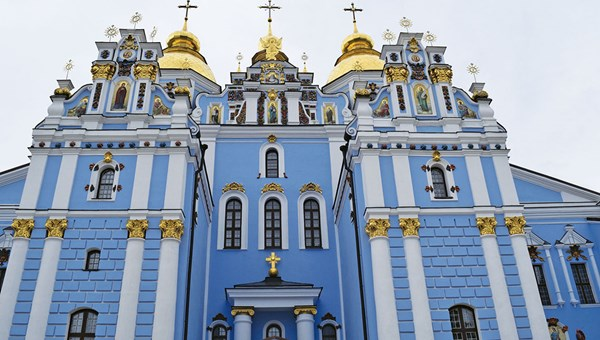 St. Michael's monastery in Kiev, where pre-independence buildings and centuries-old cathedrals sit next to towering glass-and-steel hotels and office buildings.