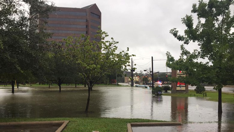 Flooding in Houston's Energy Corridor District, home to many hotels.