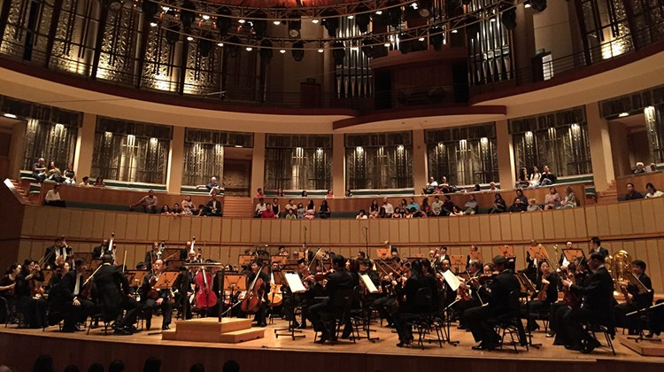 The Singapore Symphony Orchestra performing at the Esplanade concert hall.