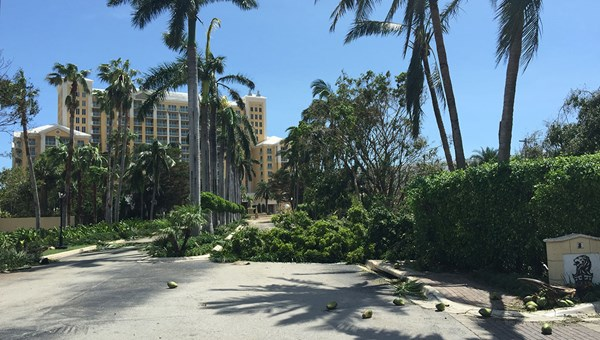 Debris blocks the entry to the Ritz-Carlton Key Biscayne.
