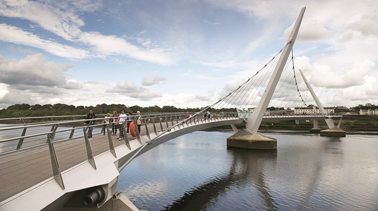 Derry&#39;s new pedestrian and bicycle Peace Bridge across the River Foyle.<br /><br /><strong>Photo Credit: Gardiner Mitchell/Tourism Ireland</strong>