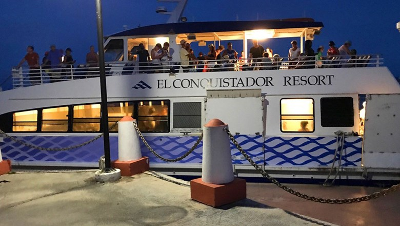 A ferry from El Conquistador Resort in Fajardo, Puerto Rico, transported stranded tourists on St. John to the resort on Sept. 10.