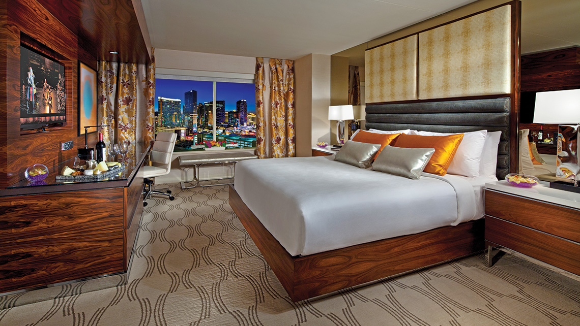 Delos' Stay Well-branded rooms, available at properties such as the MGM Grand Las Vegas, above, include special lighting and anti-microbial coatings on fixtures and furniture that reduce the spread of bacteria.