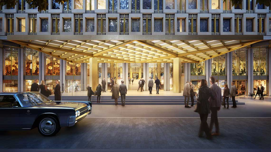 A rendering of the entrance to the second Rosewood hotel in London, in the Saarinen-designed U.S. Embassy building on Grosvenor Square.