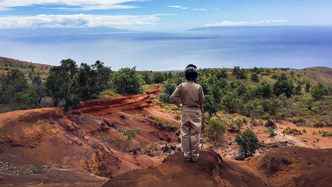 One of the highlights of the Four Seasons Lanai UTV tour is a scenic vista where, on a clear day, Maui, Kahoolawe and Hawaii Island are visible. Photo Credit: Tovin Lapan