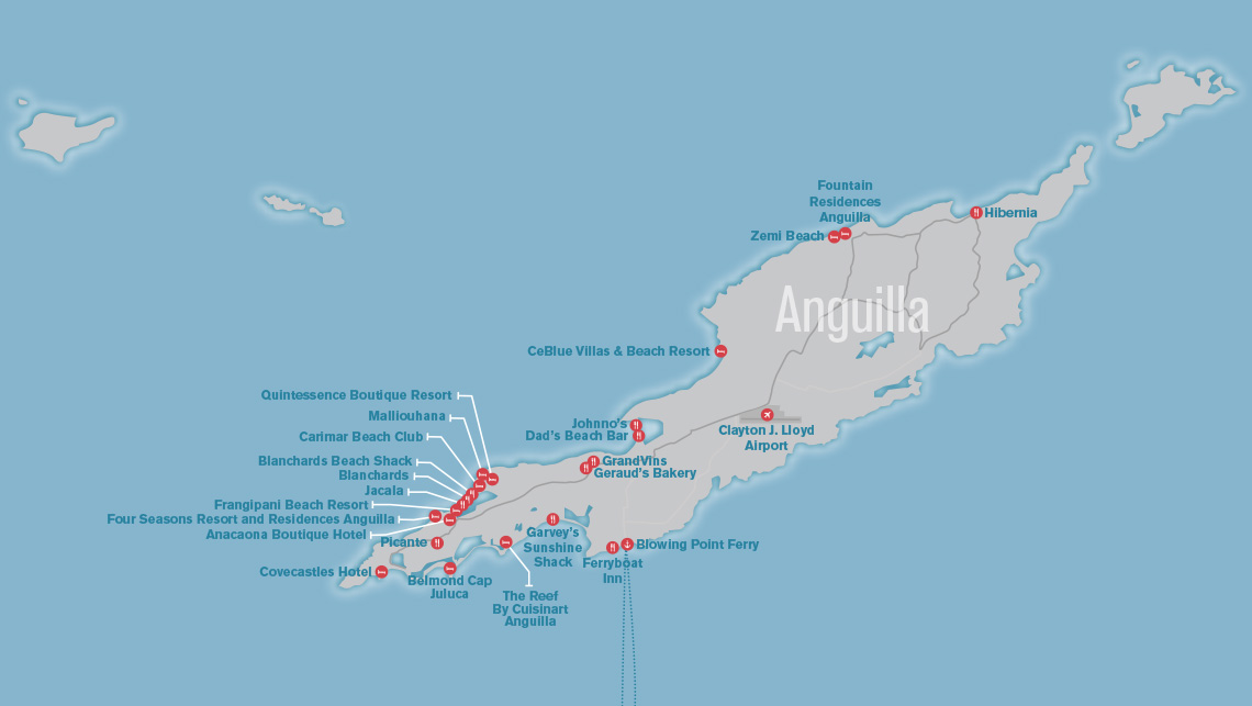 Caribbean Anguilla Map on