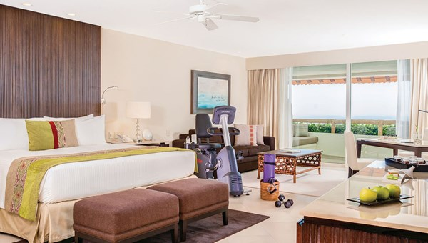One of 12 Wellness Suites at the Grand Velas Riviera Nayarit, featuring an array of exercise equipment.