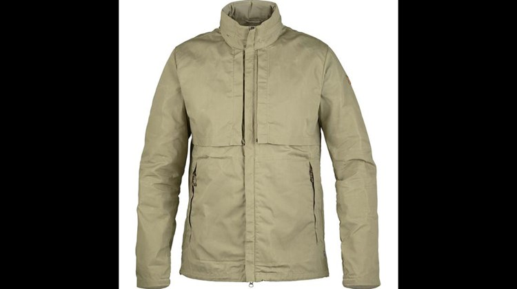 This handsome, hip-length garment for men is versatile enough to be worn on a casual destination tour or a countryside hike. The Traveller's Jacket from Fjallraven, which specializes in outdoor adventure gear, boasts a fixed hood that can be stowed in the jacket's collar, two mesh chest pockets, one zippered chest pocket, two zippered hand pockets, two inside zippered chest pockets, a detachable inside security pocket and a draw cord hem adjustment. The fabric ventilates well and dries fast should it become wet.