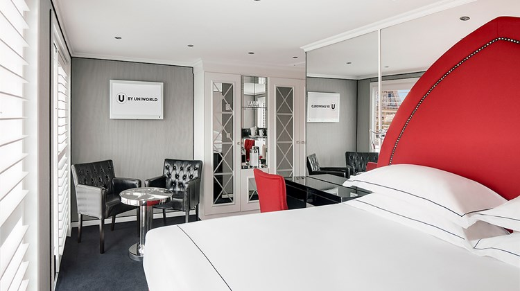 A stateroom onboard The B, a new millennial-focused river cruise ship launched by U by Uniworld.