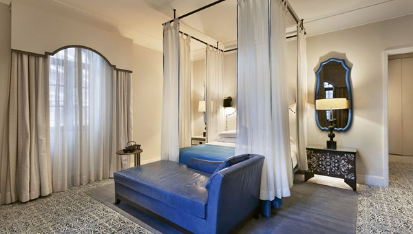 A guestroom in one of the restored buildings of the Orient Jerusalem, a 243-room property on a site that once belonged to the German Templar Society.