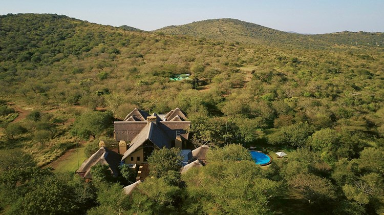 An aerial view of Villa iZulu, part of the Thanda Safari private game reserve. Other accommodations on the reserve are the Thanda Safari Lodge, offering nine bush suites, and the Thanda Tented Camp, comprising 15 tents.