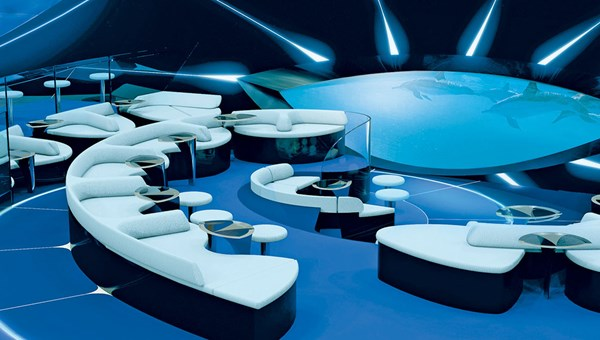 A rendering of the Blue Eye, an underwater lounge set to debut on a Ponant ship in 2018.