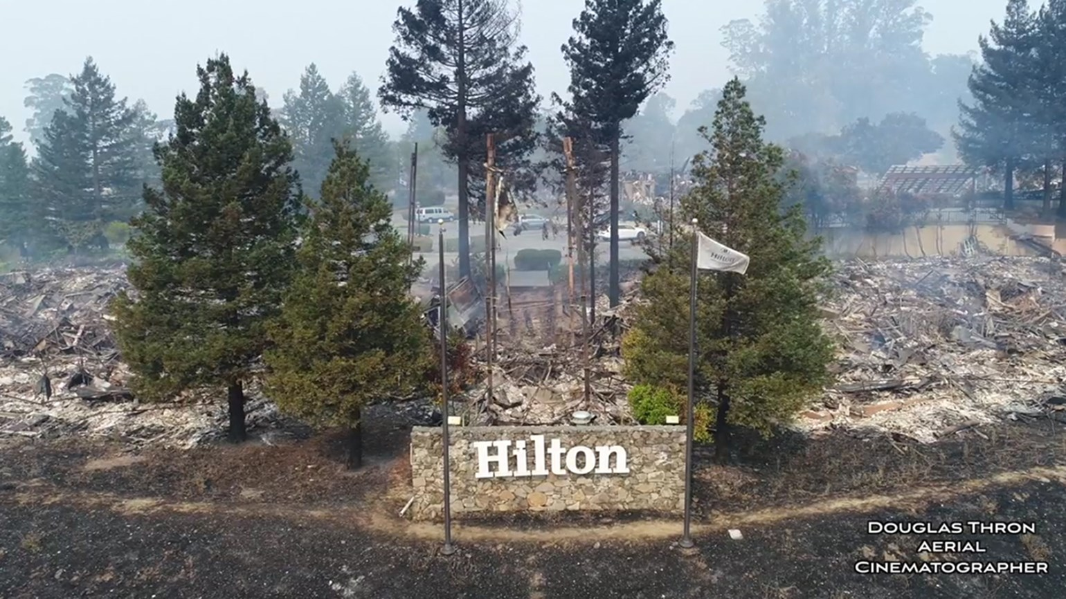 Drone footage shows fire destruction of Santa Rosa hotels