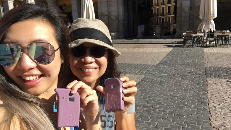 The author, right, with her goddaughter, Kim, in Madrid's Plaza Mayor.