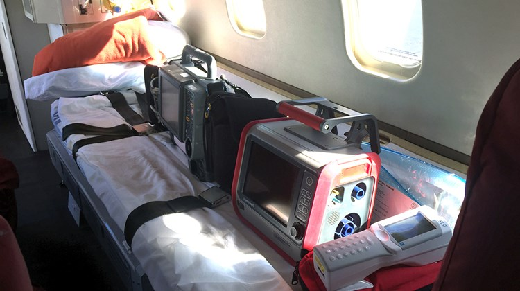 The stretcher on the air ambulance.