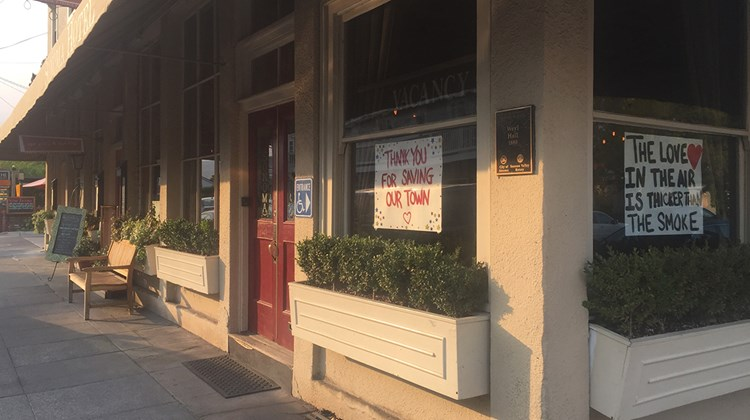 The Sonoma Hotel in downtown Sonoma displayed signs of resilience and appreciation.