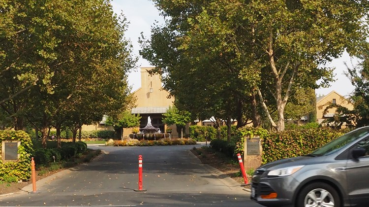 The Franciscan Estate Winery along Napa's Highway 29 was among numerous wineries that were closed on Monday, Oct. 16.