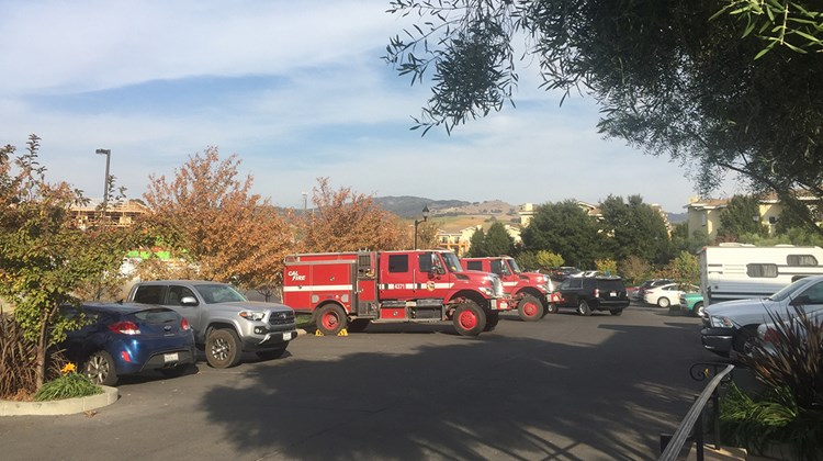 Numerous fire trucks were parked at the Meritage Resort and Spa in Napa, which was taking in evacuees and rescue workers for reduced and comped rates.