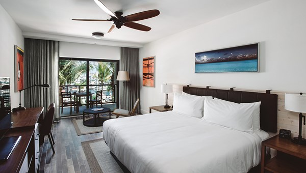 A guestroom at the Perry Hotel Key West.
