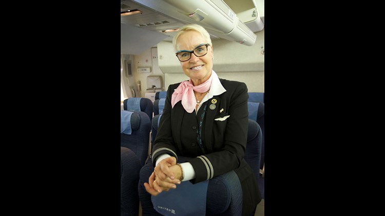 United Airlines flight attendant Silja Kaude-Kelly has been with the airline since 1999.