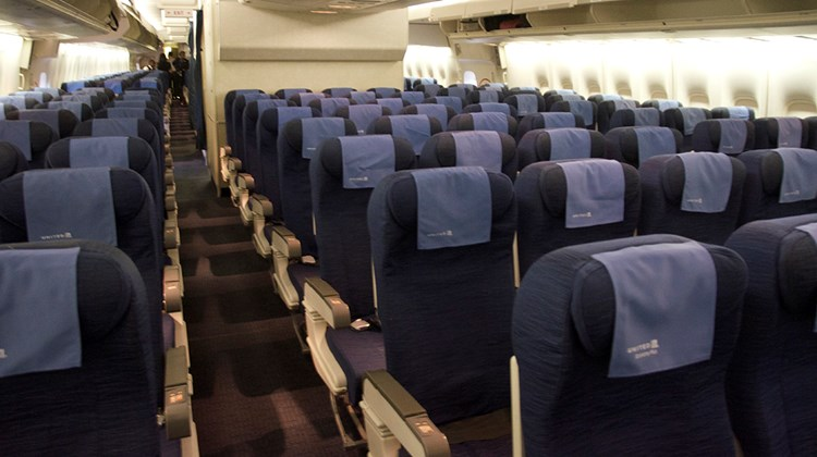 Economy class on the 747 has a three-four-three seating configuration.