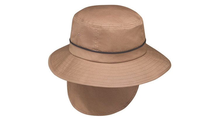 This outdoorsy men's hat from the dependable Wallaroo company adds an 8.5-inch-long back flap to protect a wearer's neck from the sun (it's UPF 50 plus, which means the fabric will block at least 97.5 percent of the sun's ultraviolet rays). A Velcro pocket in the brim stows the flap when it is not needed. The Shelton hat, which has an internal drawstring that adjusts the sizing, also features an adjustable chin strap to keep it secure in windy conditions.