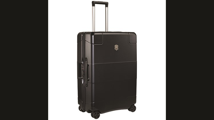 Recessed wheels and handles contribute to the Victorinox Lexicon Hardside Medium Case's ample packing space, but it is the latest molding technology responsible for its polycarbonate shell that makes it possible for this eight-wheel spinner to tip the scale at only 10.2 pounds. This is a notably light load for luggage that has a capacity of almost 4,500 cubic inches. Measuring 17.7 by 26.7 by 11 inches, it comes with X-shaped compression straps, two zippered mesh accessories pockets, a zippered divider wall and a TSA-approved combination lock.