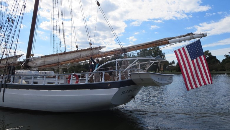 The Harvey Gamage schooner, operated by Ocean Passages, is on a four-month study voyage to Cuba with students and crew.