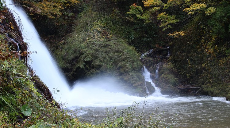 Waterfall along the Ginzan River in Obanazawa.