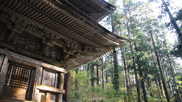 Detail of the five-story pagoda on Mount Haguro.